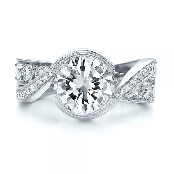 Custom Interlocking Diamond Engagement Ring #100615