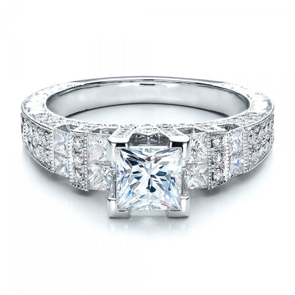 Princess Cut Side Stones Engagement Ring Vanna K