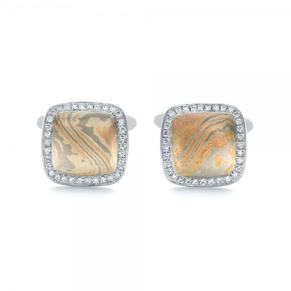 Custom Diamond and Mokume Cufflinks