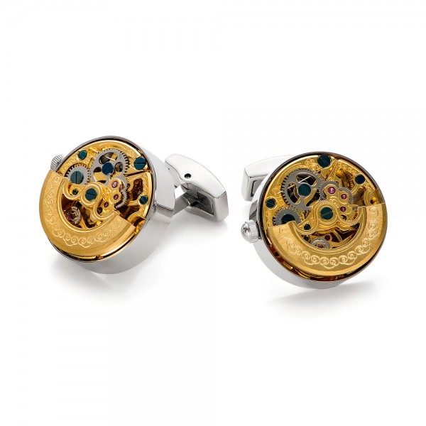 Gold and Silver Kinetic Watch Movement Cufflinks - Front View -  101771 - Thumbnail