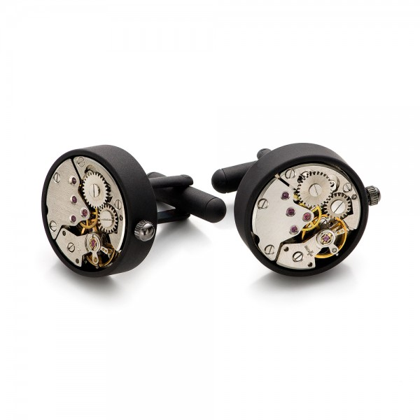 Matte Black Watch Movement Cufflinks - Front View -  101773