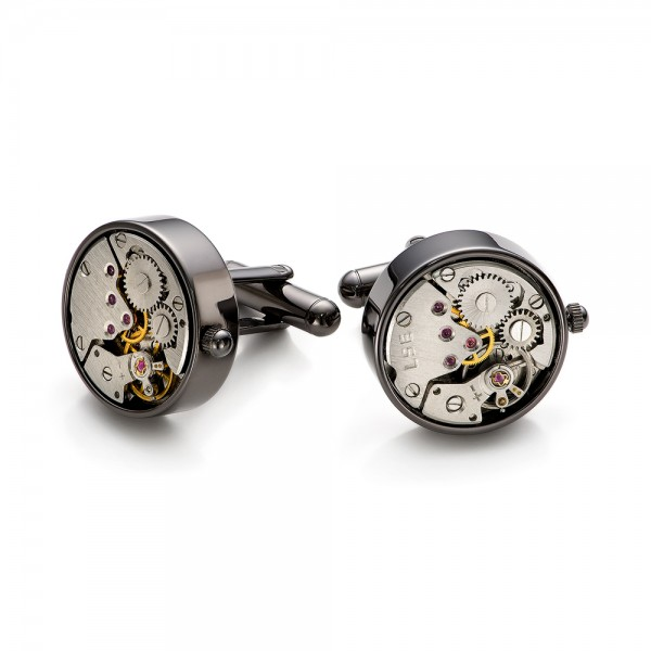 Round 20mm Gunmetal Watch Movement Cufflinks - Front View -