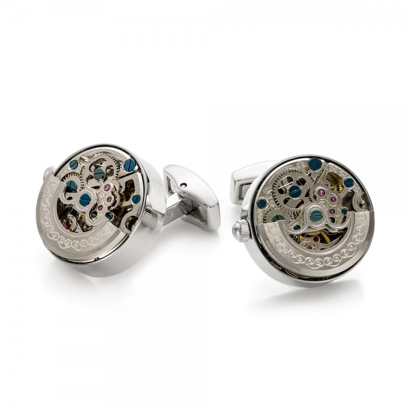 Silver Kinetic Watch Movement Cufflinks - Front View -  101768