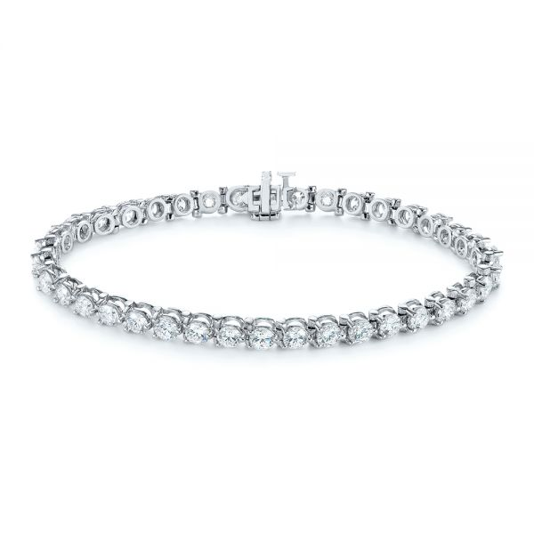 14k White Gold 8 Carat Diamond Tennis Bracelet - Three-Quarter View -  104126