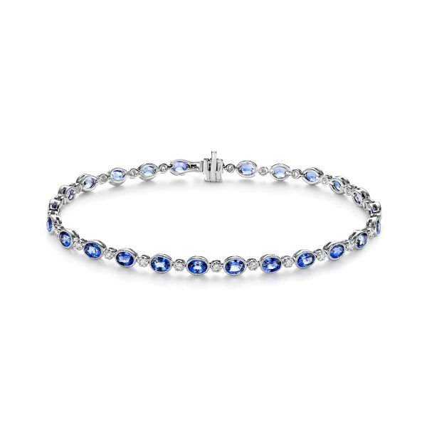 Blue Sapphire and Diamond Bracelet - Image