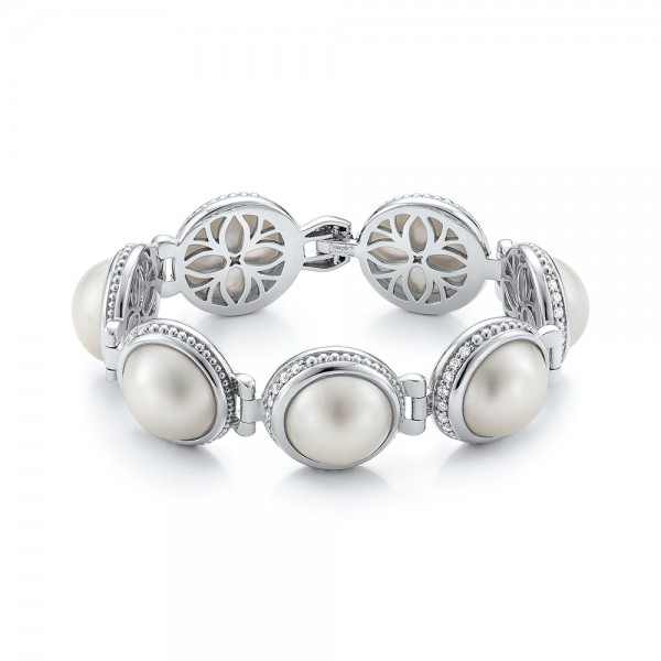 Custom Pearl and Diamond Bracelet - Image