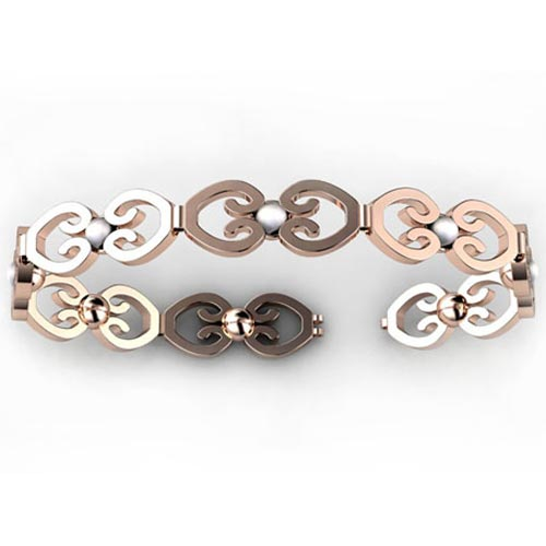Custom Rose Gold and Pearl Bracelet - 3/4 View