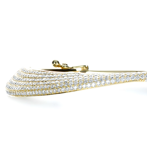 18K Gold Micro-pave Diamond Bracelet - Side View -  1380