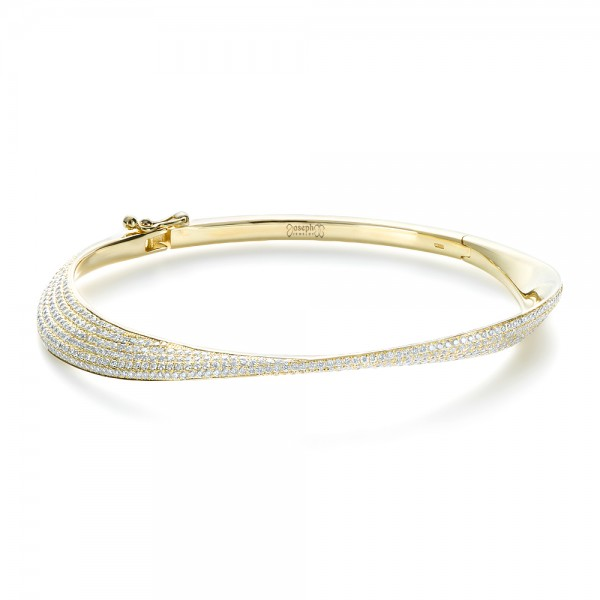 18K Gold Micro-pave Diamond Bracelet - Three-Quarter View -  1380
