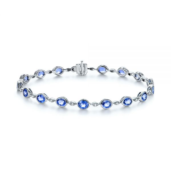 Pastel Blue Sapphire and Diamond Bracelet - Image