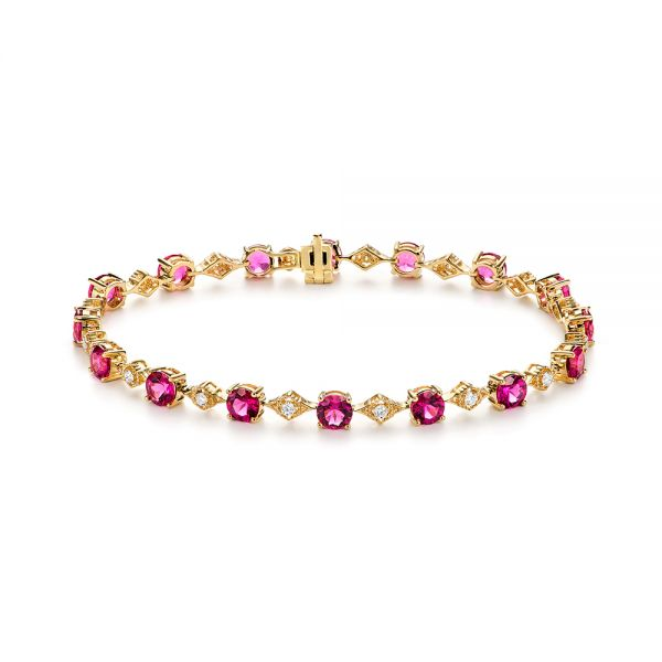 Pink Tourmaline and Diamond Bracelet - Image