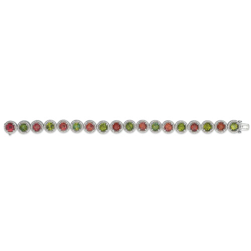 Tourmaline, Garnet and Diamond Bracelet - Vanna K - Laying View