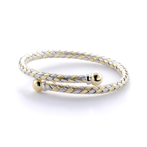 Two-Tone Woven Bracelet - Three-Quarter View -  246 - Thumbnail