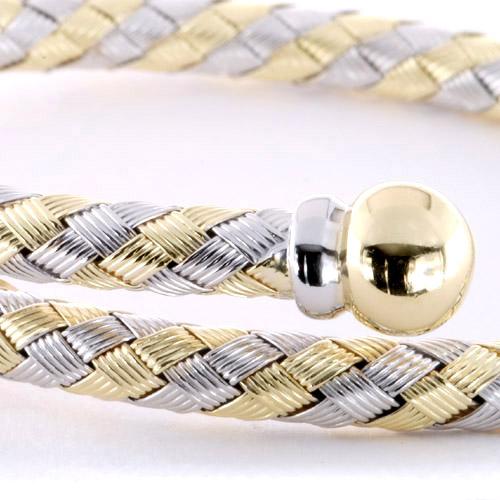 Two-Tone Woven Bracelet - Laying View