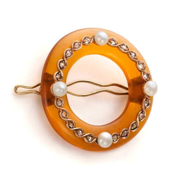 Amber, Diamond and Pearl Hair Clip - Laying View