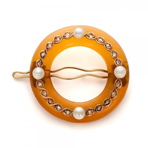 Amber, Diamond and Pearl Hair Clip