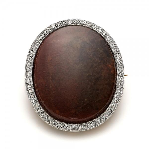 Agate and Diamond Pin