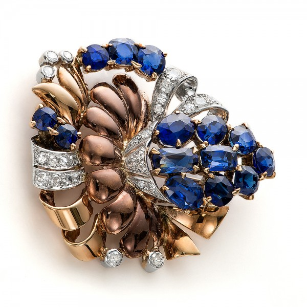 Vintage Blue Sapphire and Diamond Brooch - Laying View