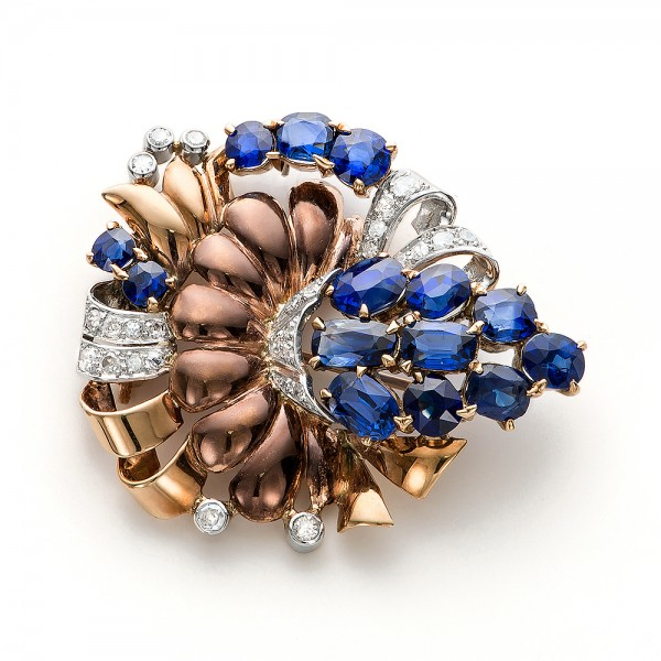 Vintage Blue Sapphire and Diamond Brooch