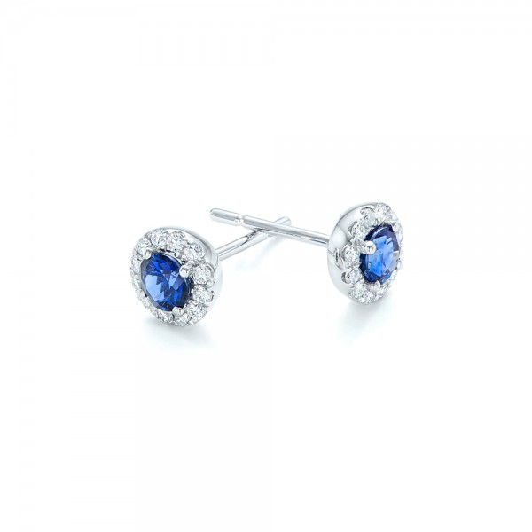 Blue Sapphire and Diamond Halo Earrings - Flat View -  102669 - Thumbnail