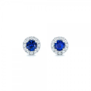 Blue Sapphire and Diamond Halo Earrings