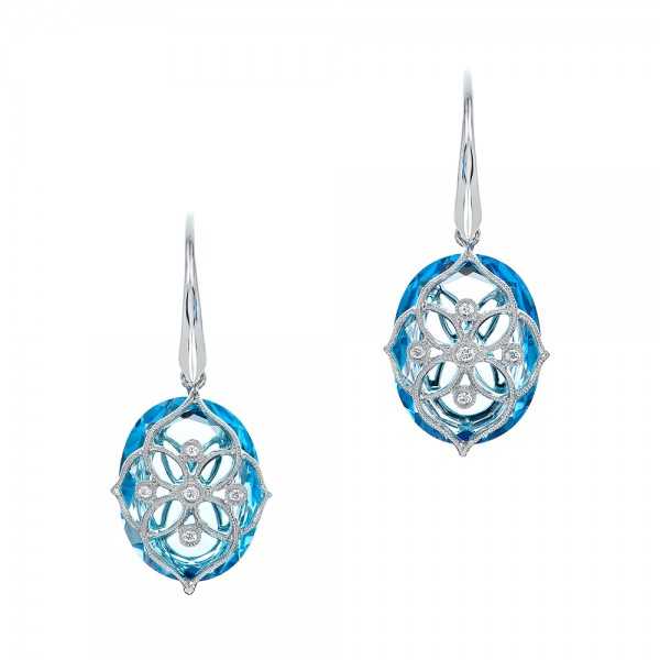 Vintage Filigree Blue Topaz and Diamond Earrings