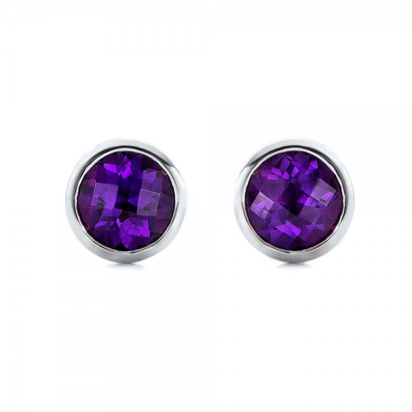 Amethyst Bezel Set Stud Earrings