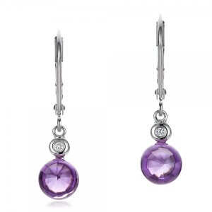 Amethyst Cabochon and Diamond Earrings
