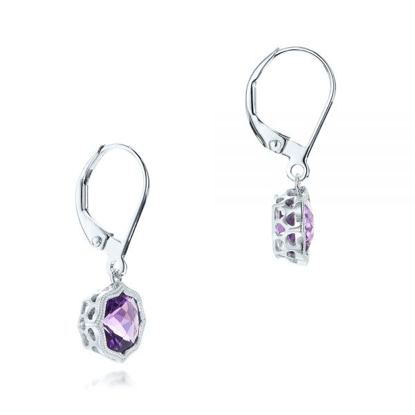 14k White Gold Amethyst Leverback Earrings - Front View -  102511