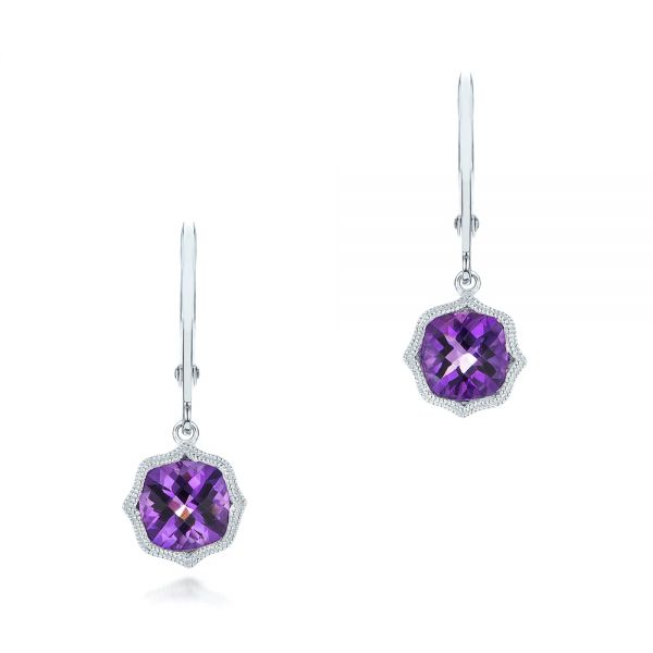 Amethyst Leverback Earrings - Three-Quarter View -  102511 - Thumbnail