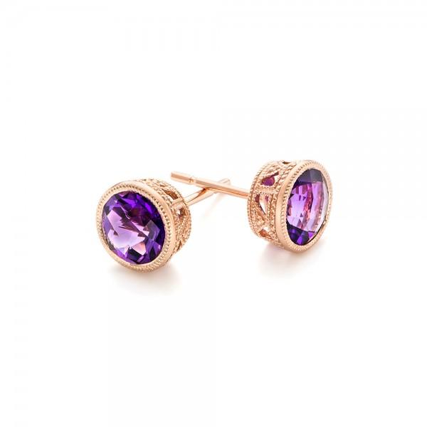 Amethyst Stud Earrings - Laying View