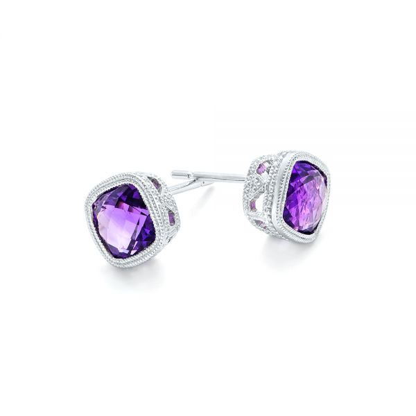 Amethyst Stud Earrings - Front View -  102655 - Thumbnail