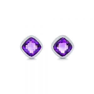 Amethyst Stud Earrings - Image