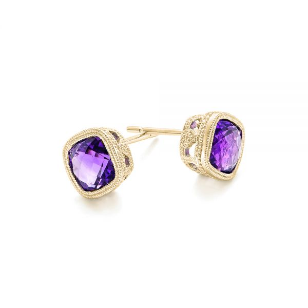 14k Yellow Gold 14k Yellow Gold Amethyst Stud Earrings - Front View -  102655