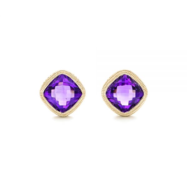 14k Yellow Gold 14k Yellow Gold Amethyst Stud Earrings - Three-Quarter View -  102655