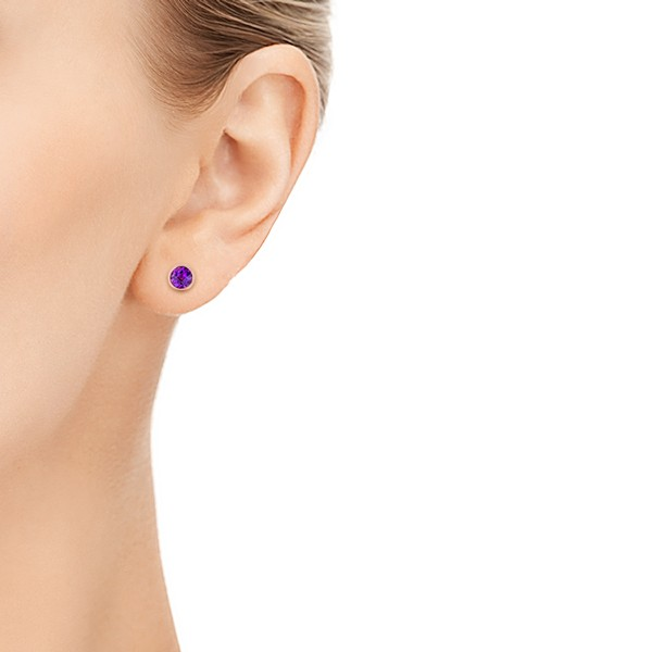 Amethyst Stud Earrings - Model View