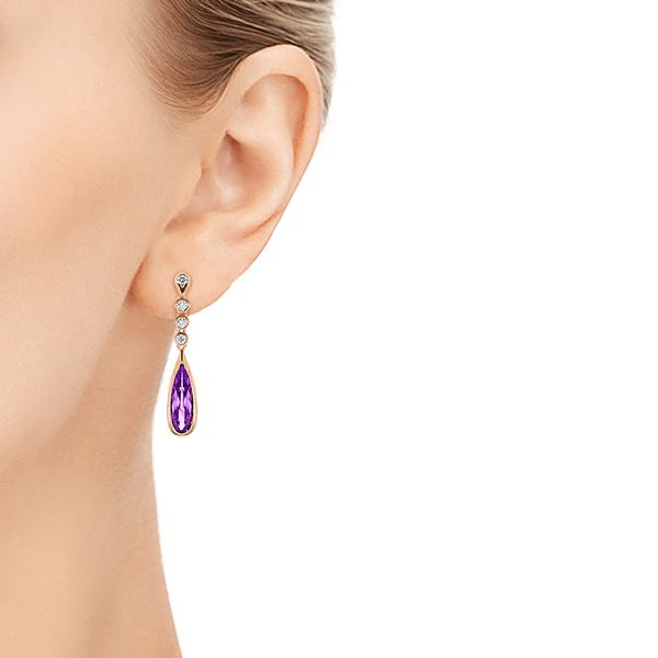14k Rose Gold Amethyst And Diamond Drop Earrings - Hand View -
