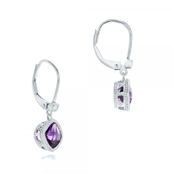Amethyst and Diamond Earrings - Flat View -  102656 - Thumbnail