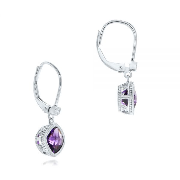 Amethyst and Diamond Earrings - Front View -  102656 - Thumbnail