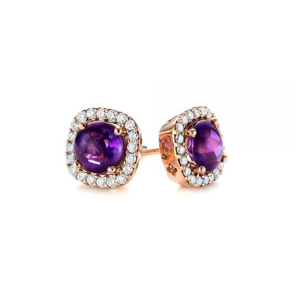 Amethyst and Diamond Halo Earrings - Laying View