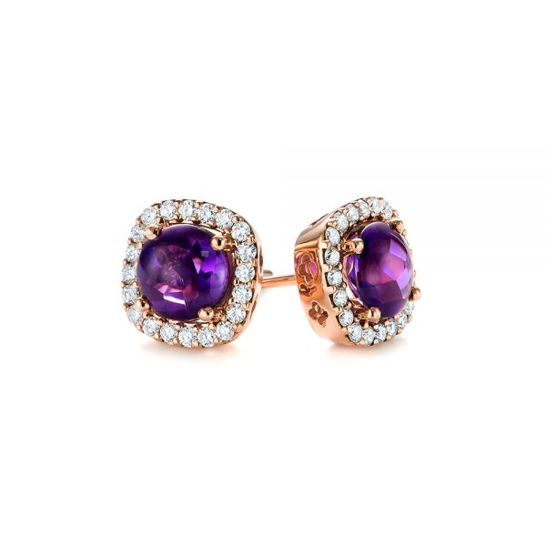 Amethyst And Diamond Halo Earrings - Front View -
