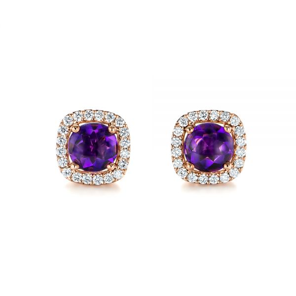 Amethyst and Diamond Halo Earrings - Image