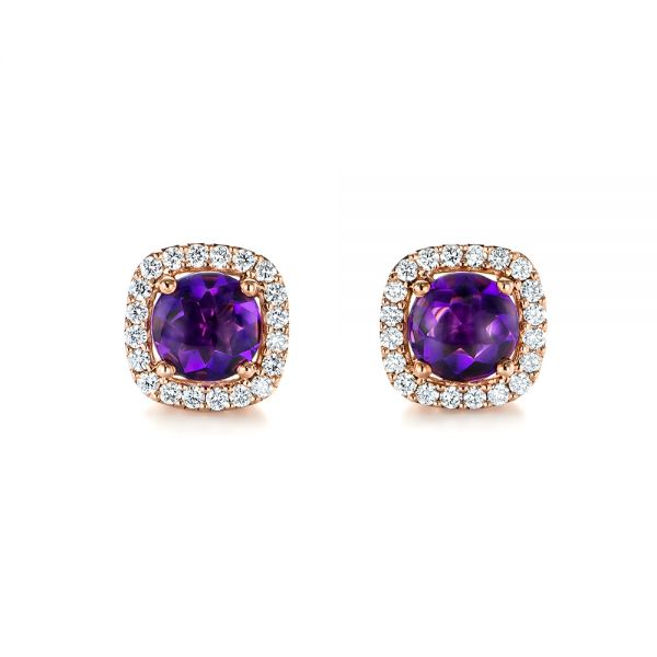 Amethyst and Diamond Halo Earrings