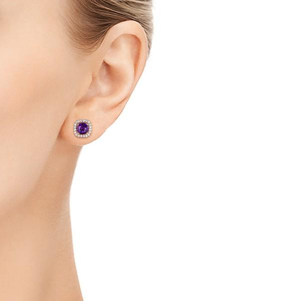 Amethyst and Diamond Halo Earrings - Model View