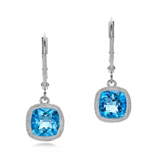 Antique Cushion Blue Topaz Earrings