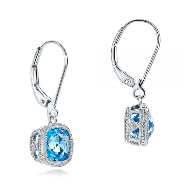Antique Cushion Blue Topaz Earrings - Front View -