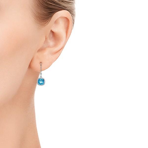 Antique Cushion Blue Topaz Earrings - Model View