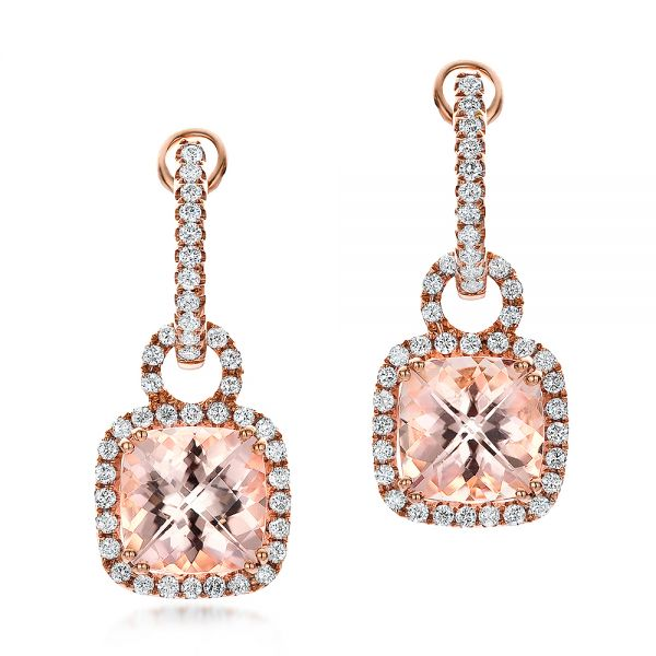 Antique Cushion Morganite And Diamond Halo Earrings - Three-Quarter View -  100455