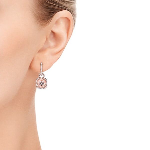 Antique Cushion Morganite and Diamond Halo Earrings - Model View
