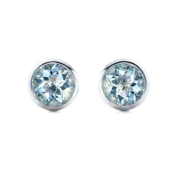 Aquamarine Bezel Set Stud Earrings
